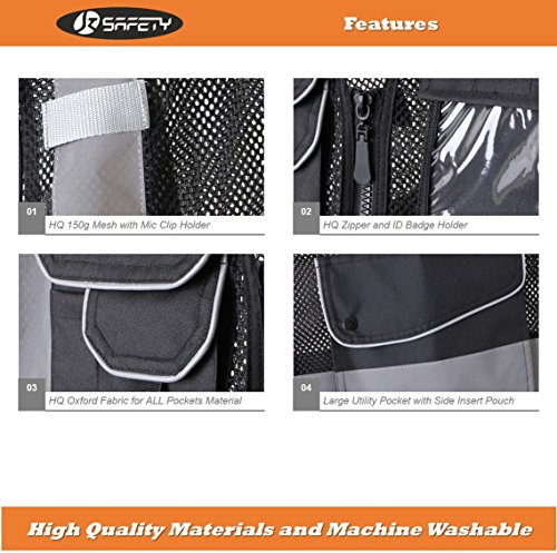 JKSafety 9 Pockets Class 2 High Visibility Zipper Front Safety Vest With Reflective Strips,HQ Breathable Mesh, Oxford Fabric for pocket materials. Black Meets ANSI/ISEA Standards (X-Large, Black) … by JKSafety (Image #3)