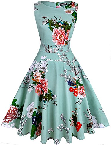 OWIN Women's Vintage 1950's Floral Spring Garden Party Dress Party Cocktail Dress (L, Ice Blue)