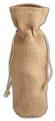 TBF Single Bottle Jute/Burlap Wine Bags with Drawstrings Closure - Set of 5, Natural (B163-NAT-5)