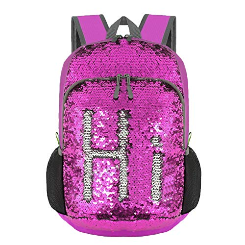 Bekahizar 20L Reversible Sequin Backpack Foldable Bling Mermaid Daypack Bag Magic Small Travel Backpack for Girls Ladies and Women Hiking Camping Day Trips Cycling Walking (Silver Purple) ()