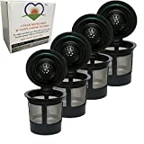 H&E Reusable Filter K-Cups Single Coffee Pods (4 Count) for Keurig Brewers 2.0 & 1.0-100% BPA Free & Non Toxic