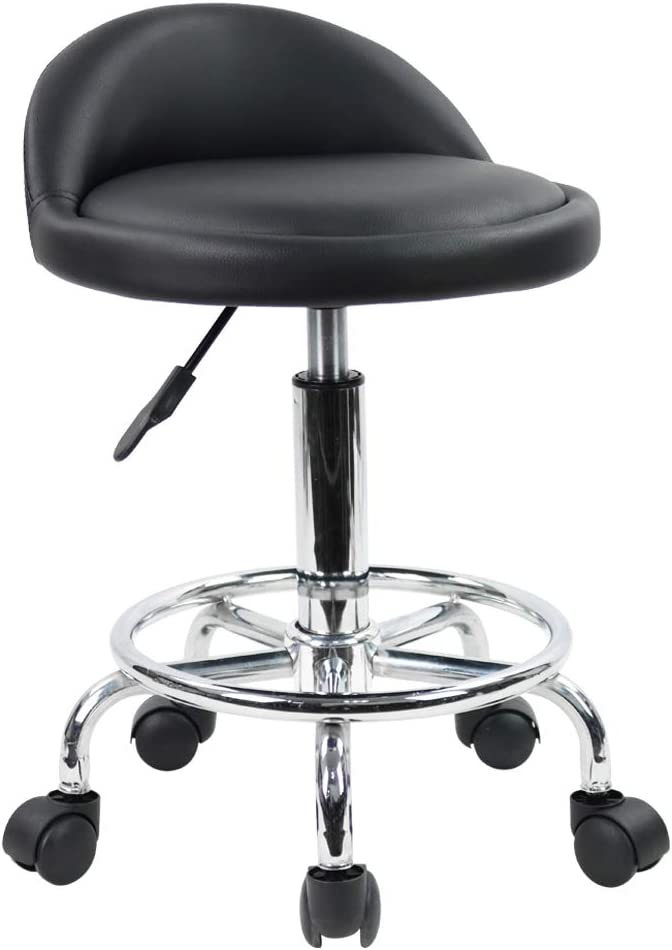 KKTONER PU Leather Round Rolling Stool with Foot Rest Height Adjustable Swivel Drafting Work SPA Medical Task Chair with Wheels (Black)