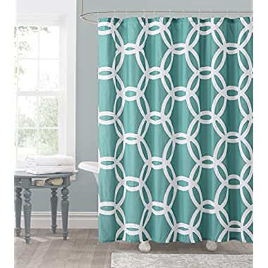 Teal and White Embossed Fabric Shower Curtain: Chain Lattice Design