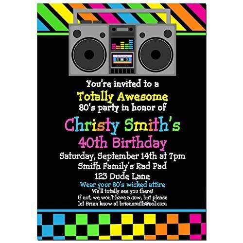 80 s party invitations with any wording printed or printable dance 80 s theme invitation
