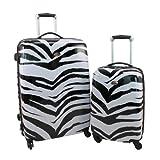 """Swiss Case 28"""" ZEBRA 4 Wheel Hard Suitcase + FREE Carry-on 20"""" luggage set"""