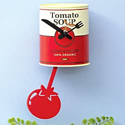 Bits and Pieces - Tomato Soup Pendulum Wall Clock - Retro Tin Can Kitchen Décor and Timer
