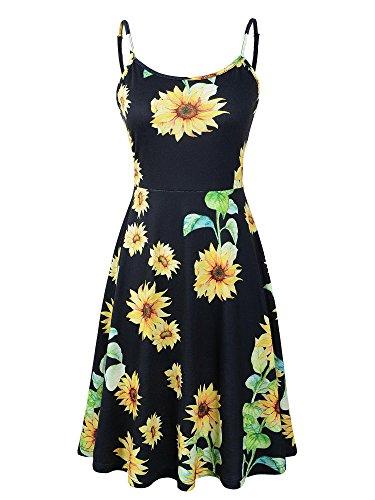 Luckco Women's Sleeveless Adjustable Strappy Summer Floral Flared Swing Dress (Medium, FL-9)