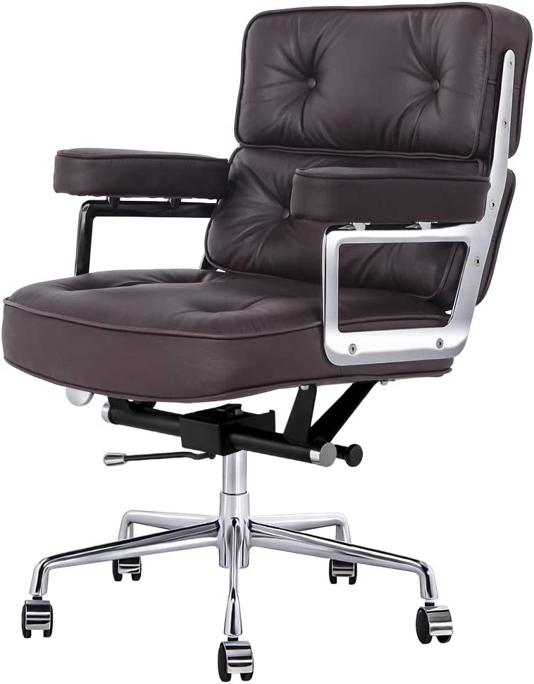 Genuine Leather Executive Office Chair, Ergonomic Mid Back Computer Desk Chair Adjustable Swivel Task Chair with Armrest for Home Office Furniture (Dark Brown)
