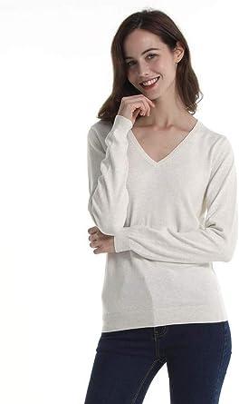 Women's V Neck Sweater Cotton Basic Lightweight Knit Pullover Long Sleeve Shirt Tops