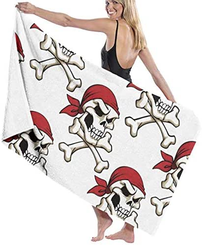 100% Polyester Skull with Crossbones in Red Headband Beach Towel Soft and Absorbent Beach Bath Pool Towel Large Beach Towels One Size About 31.5 X 51.2 Inches