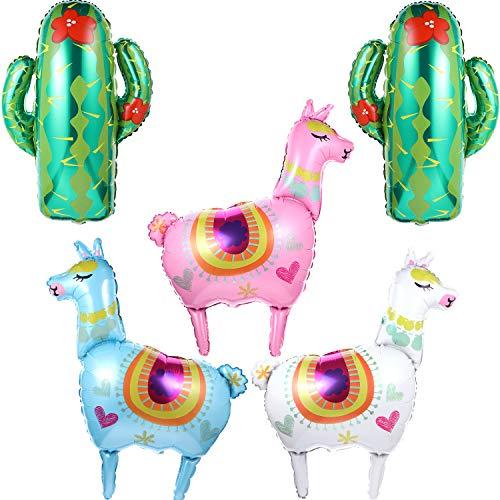 Decorative Balloon Sets Include 3 Pieces Llama Foil Balloon and 2 Pieces Green Cactus Balloons for Birthday Party Supplies