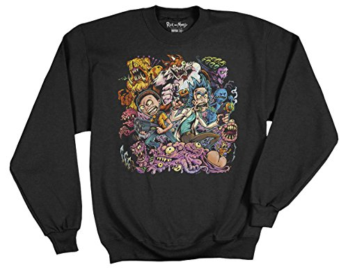 Ripple Junction Rick and Morty Brian Allen Group Illustration 3rd Place Adult Sweatshirt Large Black