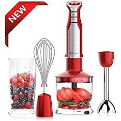 XProject HB-2042 800W 4-in-1 6 Speed,Powerful Immersion Hand Blender for Smoothies Baby Food Yogurt Sauces Soups, Red