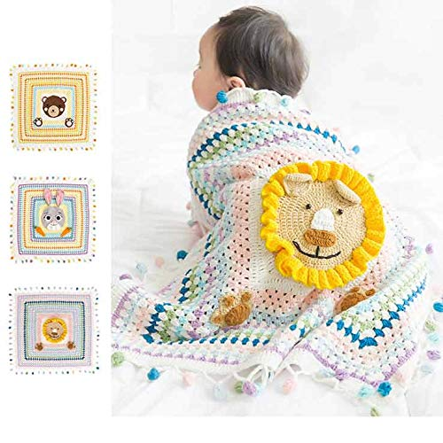 Baby Swaddle Blankets for Infant All Hand Knitting Organic Cotton, for Boy and Girl Newborn Gift, Toddler Crib Blanket 31x 31 inches, Lion ()