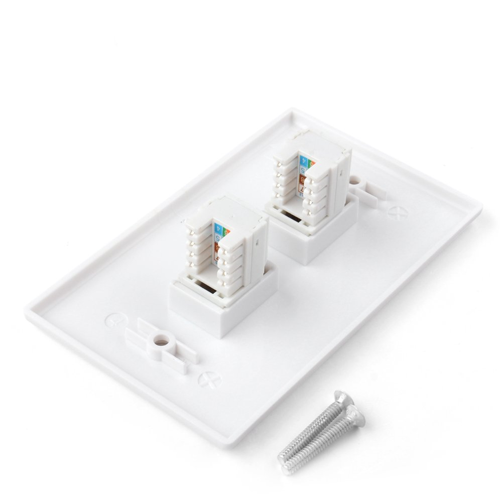 Tnp Ethernet Network Cat5e Wall Plate Dual 2 Port Modular Jack Instruction Sheet On Usoc Rj45 Wiring Connector Socket Plug Decorative Face Cover Outlet Mount Panel Female To
