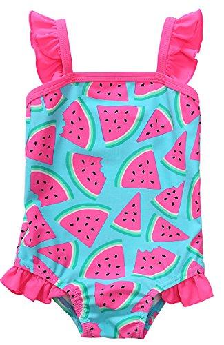 ATTRACO Infant Girls one Piece Ruffle Swimwear Cute Swimsuit Rose 0-6 Month -