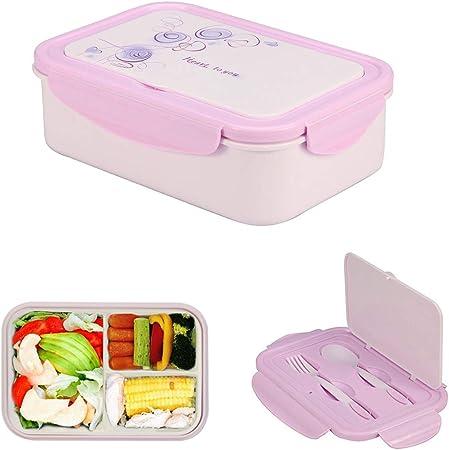Caja de Almuerzo de Plástico Púrpura, Caja de Bento con 3 Compartimentos y Cubiertos (Tenedor y Cuchara), Fiambreras Caja de Alimentos Ideal para Almuerzo y Bocadillos para Niños y Adultos, 1400ml: Amazon.es: