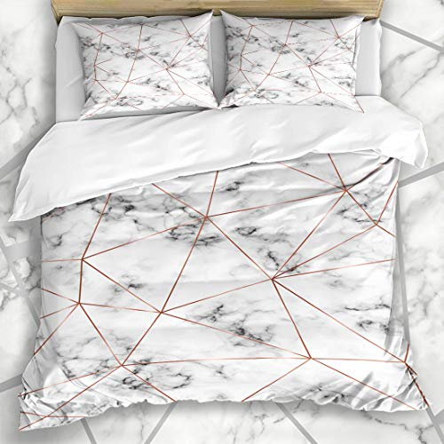 Ahawoso Duvet Cover Sets Queen/Full 90x90 Celebration Geometric Marble Rose Gold Triangles Date Copper Diamond Modern Bronze Holiday Microfiber Bedding with 2 Pillow Shams