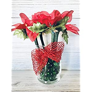 Christmas Holiday Poinsettia Flower Pen Pot