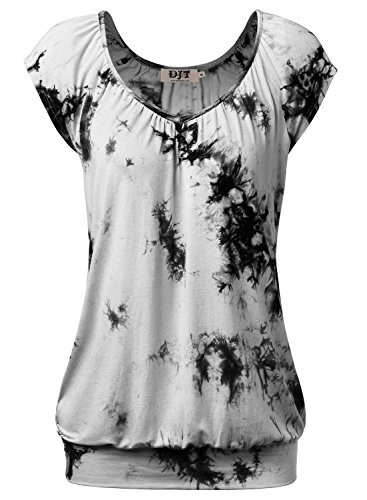 DJT Women's Tie Dye V Neck Short Sleeve T Shirt Tunic Top X-Large Tie Dye_Gray Slim Spandex Tunic