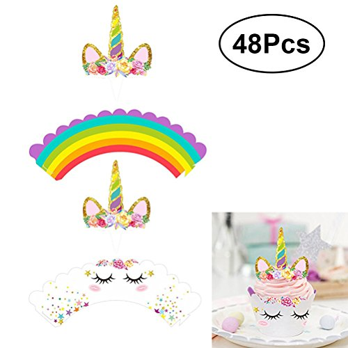Amazon.com: BESTONZON 48-Pack Glitter Unicorn Cupcake Toppers and Double Sided Wrappers,Perfect for Party Cake Decoration: Home & Kitchen