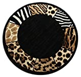 Modern Animal Print, Round Area Rug, Design S 73 Black (4 Feet X 4 Feet) Round