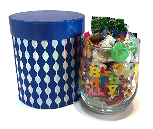 12 oz Birthday Wine Glass with Quality Candies - Birthday Gift - Birthday Present (Happy Birthday - Dark Blue, Stemless, With Hard Candies)