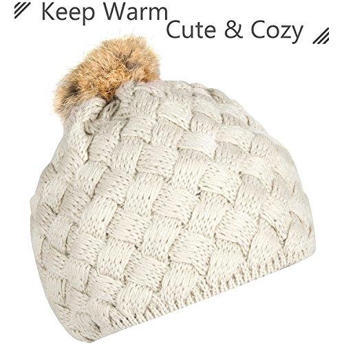 Zodaca Winter Warm Comfort Soft Crochet Pom Pom Beanie Knit Hat for Baby, Boys, Girls, Infant, Toddler, Beige