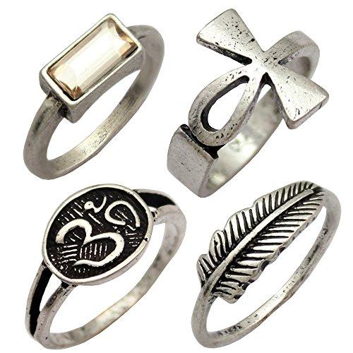 Key Ring Rhinestone Silver Plated - Q&Q Fashion Silver Plated Pack 4 Egyptian Ankh Cross Key Life Om Ohm Aum Feather Leaf Rhinestone Band Ring,7
