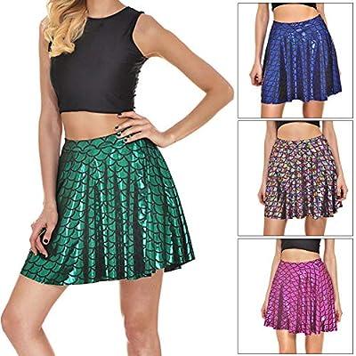 Gloa Fashion Fish Scales Women Summer Casual Party Cute Mermaid Mini Flared Skirt - Purple XL