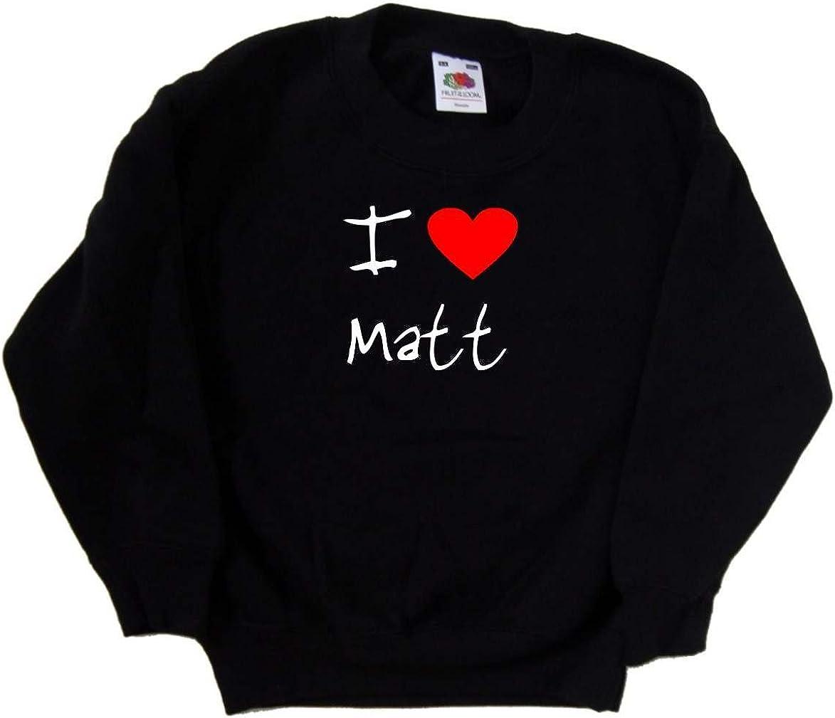 I Love Heart Matt Black Kids Sweatshirt