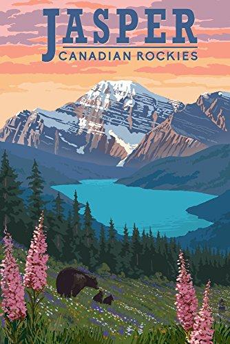 - Jasper, Canada - Bear and Spring Flowers (12x18 Art Print, Wall Decor Travel Poster)