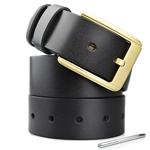 Men's Leather Dress Belt With Nickel Free Buckle & 1.57 Width - Black (Nickle Leather)