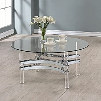 Coaster Round Glass Top Coffee Table In Chrome