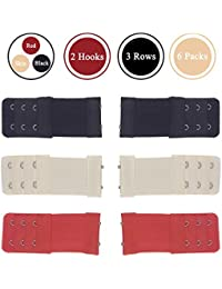 723bc95eb2 Pack of 6 Cotton Women Ladies Bra Extension Strap Extender 3 Rows 2 Hooks 3  Colors