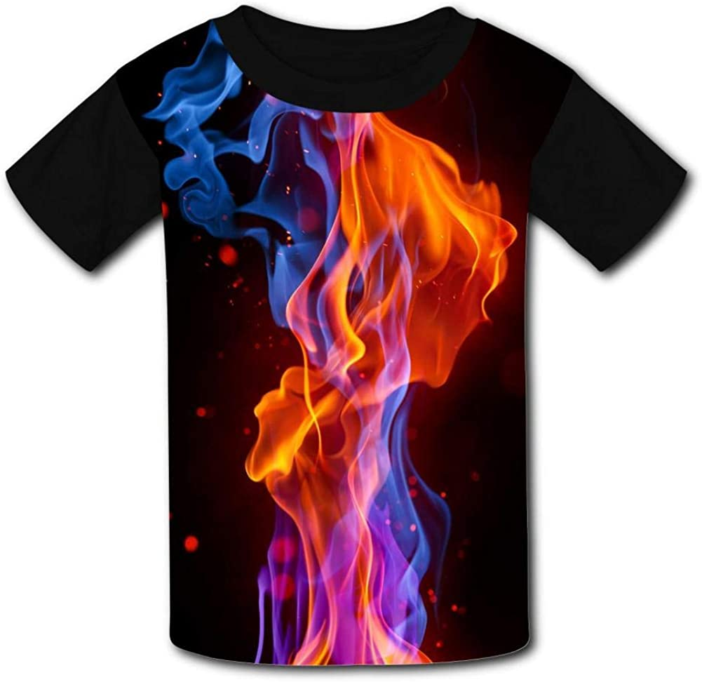 Kids Custom Cool Red /& Blue Fire T-Shirts Boys Girls Teenager Tee Shirt Children Youth Graphics Tees