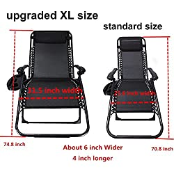 Ezcheer Oversized Zero Gravity Chair,Patio Lounge Chair 2 Pack w Cup Holder,Folding Office Beach Recliner XL 430 lbs Weight Capacity Garden Chair