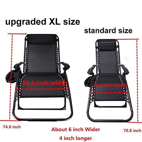 Ezcheer Oversized Zero Gravity Chair,Patio Lounge Chair 2 Pack w Cup Holder,Folding Office Beach Recliner XL 430 lbs Weight Capacity Garden Chair Review