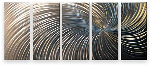 Metal wall art abstract contemporary sculpture home decor modern silver swirl - Decoration murale design metal ...