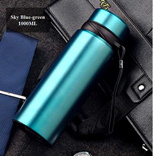 24 Hrs Heat Insulated Double Wall Vacuum flask Thermos Coffee | 17oz/33oz (500ml/1000ml) Stainless Steel Water Bottle/Insulated Travel Mug with Tea/Coffee Filter- Sky Blue-Green, 33 oz