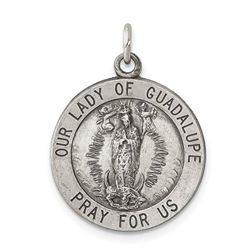 (Solid Our Lady of Guadalupe Pray For Us Words Dime Size Charm in 925 Sterling Silver 23x18mm)