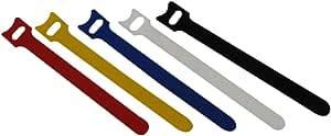 QualGear Hook & Loop Fastening Cable Ties, 1/2 x 6 inches, Assorted Colors, 5 pcs (VT3-MC-5-P)