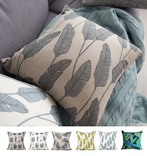 Kdays Botanical Oatmeal Pillow Cover Linen Pillow Cases Designer Handmade Pillows Decorative for Couch 20×20 Inches