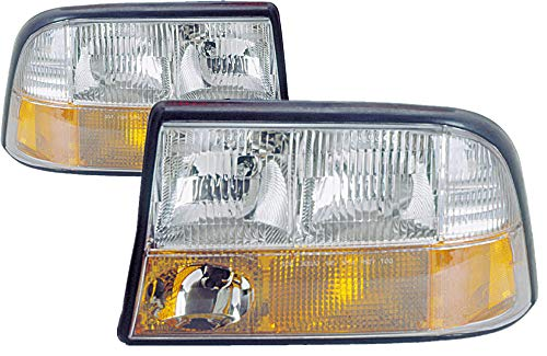 (For 1998 1999 2000 2001 2002 2003 2004 2005 Gmc Jimmy | Sonoma | Bravada | S15 Headlight Headlamp Assembly Driver Left and Passenger Right Side Pair Set Replacement GM2502173 GM2503173)