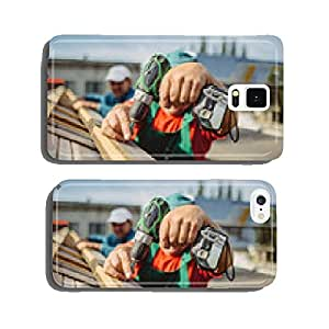 roofer using a drill is fastening a cap to a house roof cell phone cover case Samsung S5
