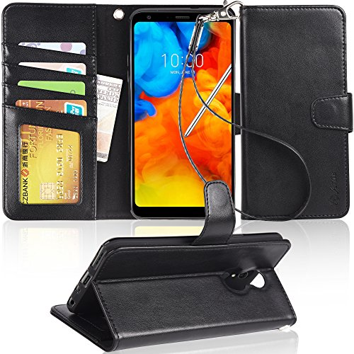 LG stylo 4 Case, LG Q Stylus/Q Stylus+ / Q Stylus α case, Arae [Stand Feature] PU leather wallet case with wrist strap and [4-slots] ID&Credit Cards Pocket for LG stylo 4 – black