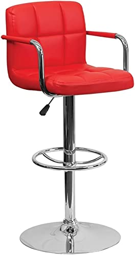 Offex Contemporary Red Quilted Vinyl Adjustable Height Bar Stool with Arms and Chrome Base