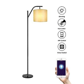 Lámparas de Pie WIFI, Wellwerks Lámpara de Salón INTELIGENTE Luz Regulable Control Remoto Compatible con Alexa y App de Movil para Hogar Estudio ...