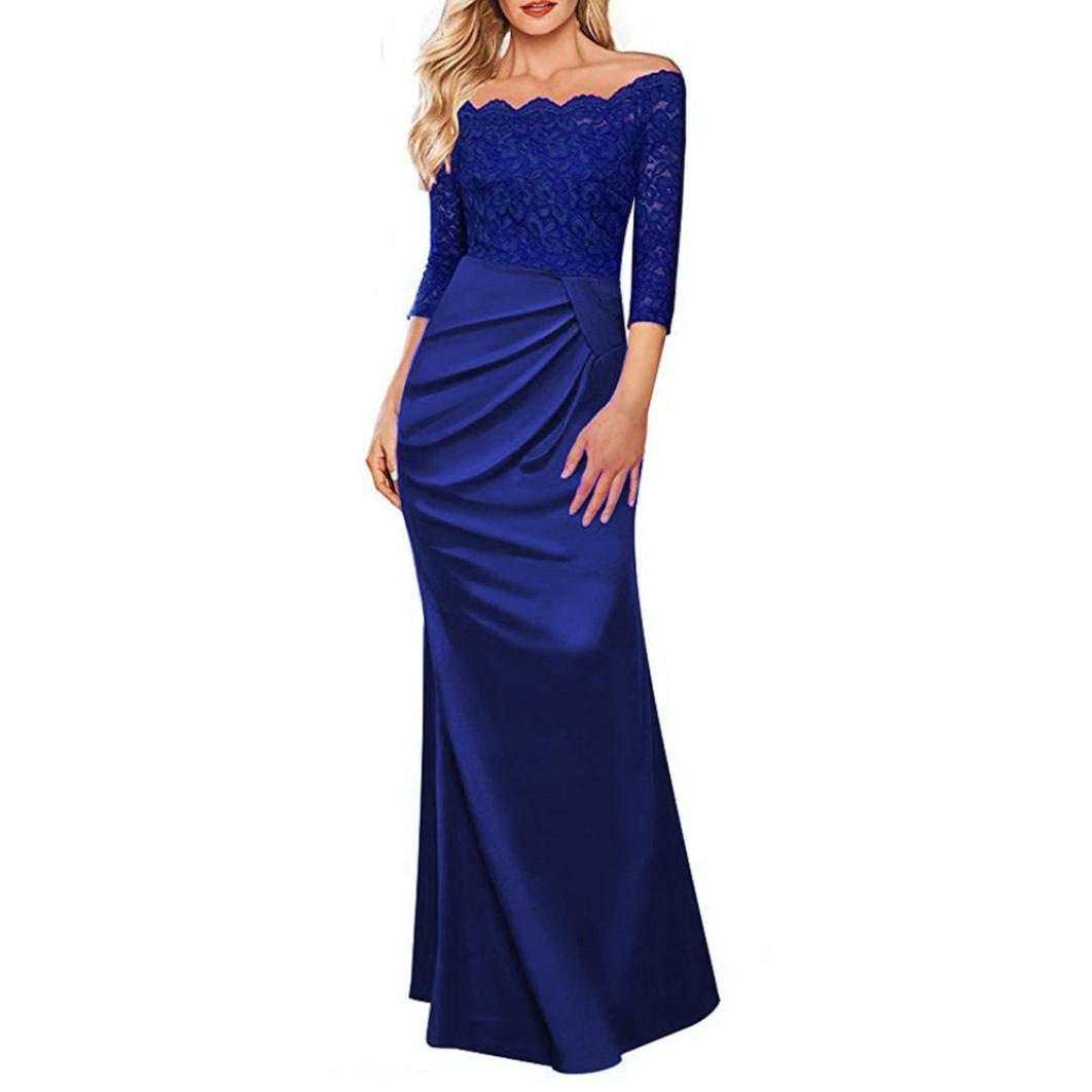 TALLA S. Overdose Vestido Largo Formal De La Tarde del Partido De Tarde del Vestido Largo del Partido De La Tarde del Hombro De Las Mujeres del Vestido De La Dama De Honor del Vestido del Concierto Azul S