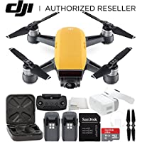 DJI Spark Portable Mini Drone Quadcopter + DJI Goggles Virtual Reality VR FPV POV Experience Essential Bundle (Sunrise Yellow)